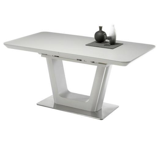 AUSZIEHTISCH rechteckig Weiß, Edelstahlfarben  - Edelstahlfarben/Weiß, Design, Keramik/Metall (160(210)/90/76cm) - Carryhome