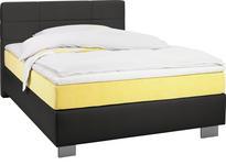BOXSPRINGBETT 100 cm   x 200 cm   in Textil Gelb, Schwarz - Chromfarben/Gelb, Design, Kunststoff/Textil (100/200cm) - Hom`in