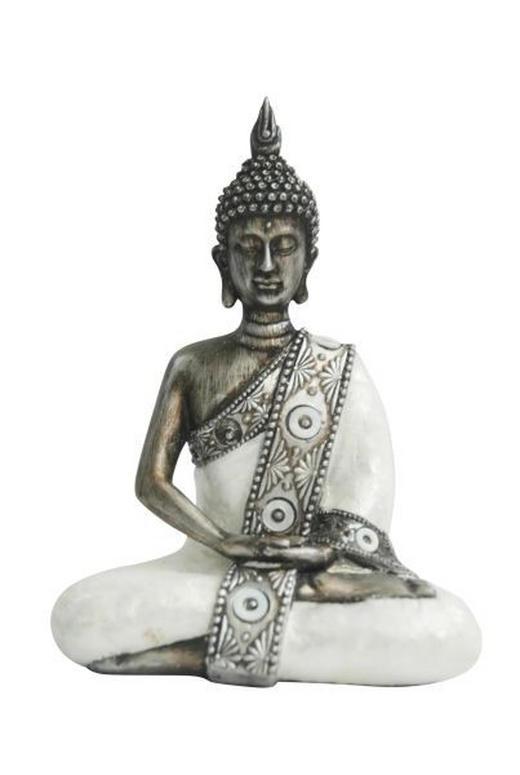 BUDDHA - Silberfarben/Weiß, Basics, Kunststoff (14,5/8,5/20,5cm) - Ambia Home