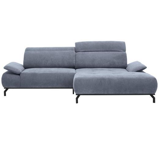 WOHNLANDSCHAFT in Textil Grau  - Schwarz/Grau, Design, Textil/Metall (270/175cm) - Carryhome