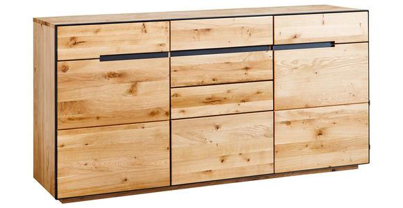 SIDEBOARD Wildeiche furniert, massiv, teilmassiv Eichefarben  - Eichefarben/Anthrazit, KONVENTIONELL, Holz/Metall (165/82/42cm) - Linea Natura