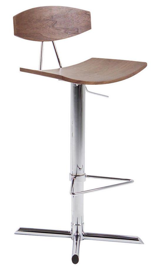 BARHOCKER in Chromfarben, Walnussfarben - Chromfarben/Walnussfarben, Design, Holz/Metall (44/103/42cm)