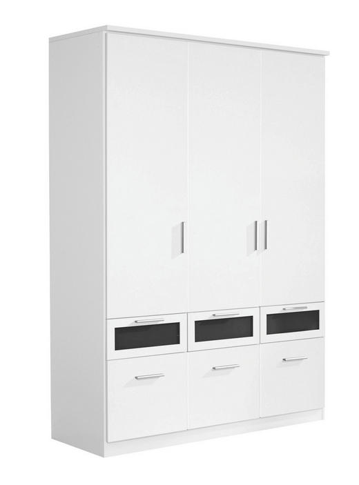 DREHTÜRENSCHRANK 3-türig Schwarz, Weiß - Silberfarben/Schwarz, Design, Glas/Holzwerkstoff (136/199/56cm) - Carryhome