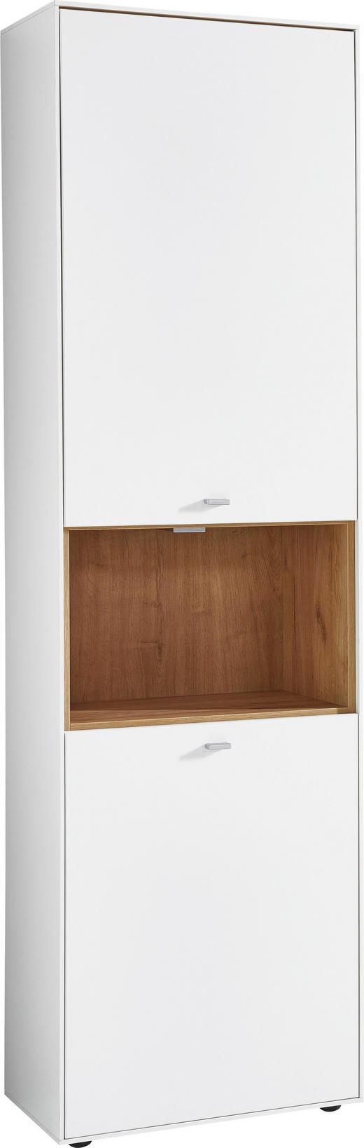 SCHRANK melaminharzbeschichtet Weiß, Eichefarben - Eichefarben/Alufarben, Design, Holzwerkstoff/Metall (57/199/38cm) - Carryhome