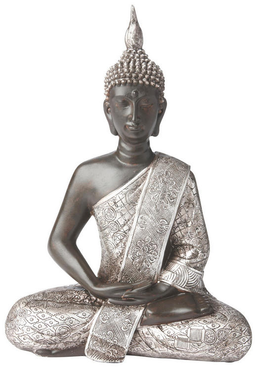 BUDDHA - Silberfarben/Braun, Basics, Kunststoff (21,5/28/11cm) - Ambia Home