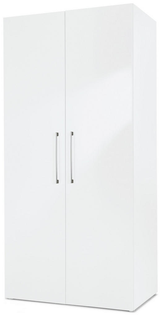 DREHTÜRENSCHRANK 2-türig Weiß - Chromfarben/Weiß, Design, Holzwerkstoff/Metall (100/208/57cm) - Carryhome