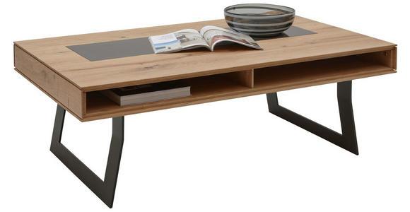 COUCHTISCH in Holz, Metall, Glas 120/75/43 cm   - Eichefarben/Anthrazit, Design, Glas/Holz (120/75/43cm) - Valnatura