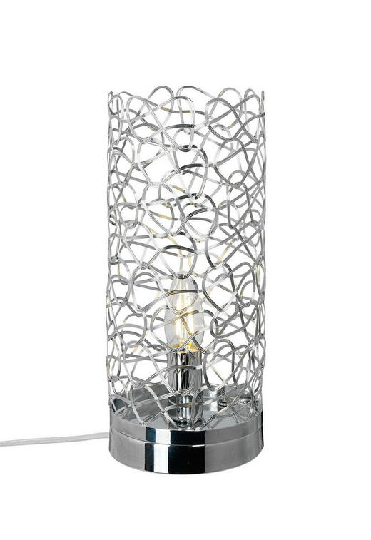 Tischleuchte - Chromfarben, Design, Metall (13/31cm)