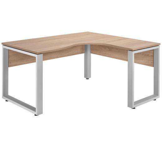ECKSCHREIBTISCH - Eichefarben/Silberfarben, KONVENTIONELL, Holzwerkstoff/Metall (160/75/140cm)