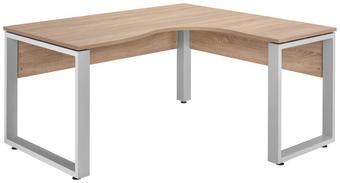 KOTNA PISALNA MIZA kovina, leseni material barve hrasta, srebrna - barve hrasta/srebrna, Design, kovina/leseni material (160/75/140cm) - VOLEO