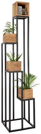 BLUMENSTÄNDER - Schwarz/Akaziefarben, Trend, Holz/Metall (40/184/40cm) - Ambia Home
