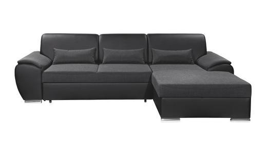 WOHNLANDSCHAFT in Textil Anthrazit, Schwarz - Anthrazit/Silberfarben, Design, Kunststoff/Textil (277/173cm) - Carryhome