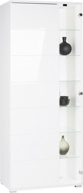 VITRINSKÅP - vit/kromfärg, Design, metall/glas (75/191/40cm) - Carryhome