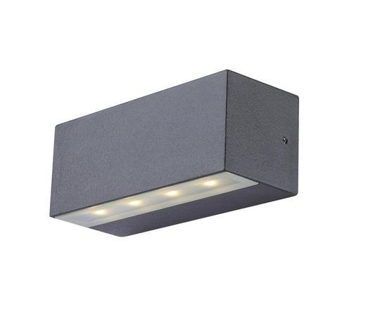 AUßENWANDLEUCHTE - Grau, Design, Glas/Metall (13,5/5,7/5,3cm)