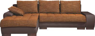 WOHNLANDSCHAFT in Textil Braun, Orange  - Wengefarben/Braun, Design, Holz/Textil (198/278cm) - Carryhome