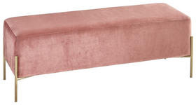 SITZBANK Samt Rosa, Goldfarben  - Goldfarben/Rosa, MODERN, Textil/Metall (122/43/40cm) - Xora