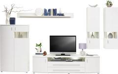 WOHNWAND in Weiß - Chromfarben/Silberfarben, Design, Glas/Holzwerkstoff (336/198/48cm) - Hom`in