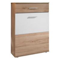 SCHUHSCHRANK 65/100/36 cm - Eichefarben/Silberfarben, MODERN, Holzwerkstoff/Kunststoff (65/100/36cm) - Voleo