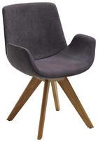STUHL Webstoff Eichefarben, Grau - Eichefarben/Grau, Design, Holz/Textil (63/86/57cm) - VALDERA