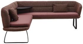 ECKBANK Chenille, Flachgewebe Braun, Schwarz, Bordeaux - Bordeaux/Schwarz, Design, Textil/Metall (226/219cm) - Dieter Knoll