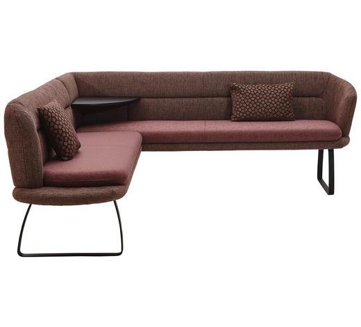 ECKBANK 203/219 cm  in Schwarz, Bordeaux  - Bordeaux/Schwarz, Design, Textil/Metall (203/219cm) - Dieter Knoll