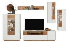 WOHNWAND in Weiß, Eichefarben  - Eichefarben/Weiß, Design, Glas/Holzwerkstoff (330/186/41,8cm) - Carryhome