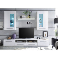 DNEVNI REGAL  bela - bela/srebrna, Design, umetna masa/leseni material (240/190/42cm) - BOXXX