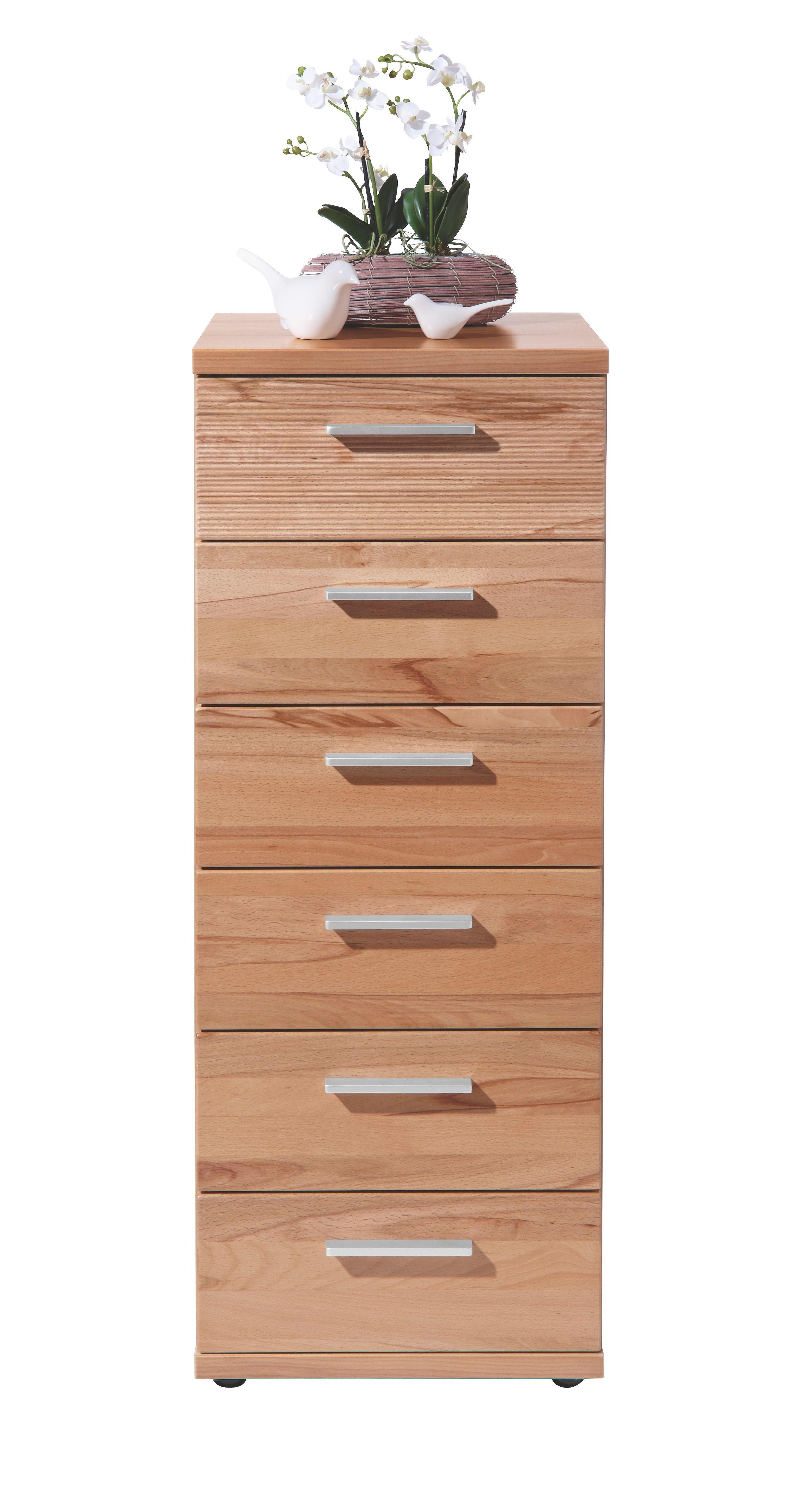 KOMMODE Kernbuche furniert, massiv Buchefarben - Chromfarben/Buchefarben, Design, Holz/Kunststoff (42/107/39cm)