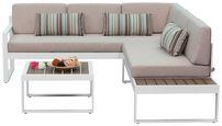 LOUNGE ZOFA Polywood® aluminij - bela/bež, Moderno, kovina/umetna masa - Ambia Garden