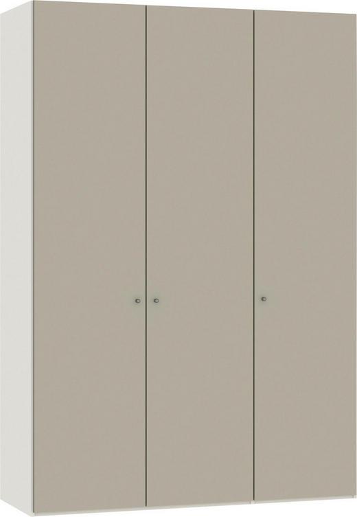 FALTTÜRENSCHRANK 2-türig Sandfarben, Weiß - Sandfarben/Silberfarben, Design, Glas/Holzwerkstoff (153,5/220/58,5cm) - Jutzler