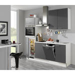 KÜCHENBLOCK E-Geräte, Spüle   - Graphitfarben/Weiß, Design (210cm) - Xora