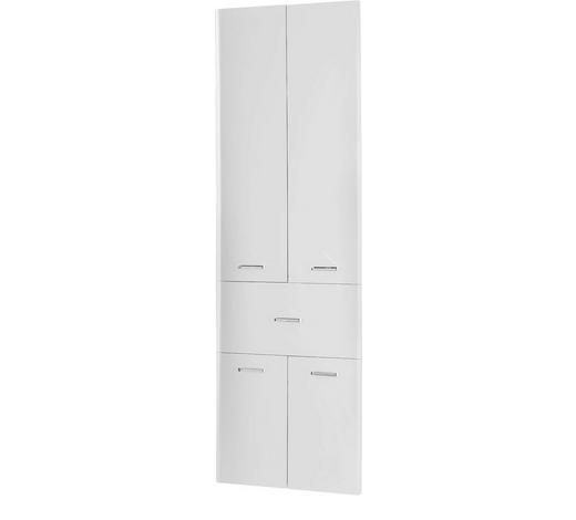 HOCHSCHRANK Weiß  - Chromfarben/Weiß, KONVENTIONELL, Holzwerkstoff/Metall (53/185.5/33cm) - Xora
