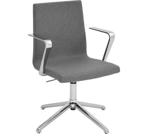 DREHSTUHL - Grau, Design, Textil/Metall (51/86-95/46cm)