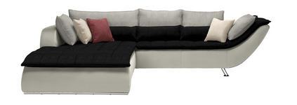 WOHNLANDSCHAFT Hellgrau, Schwarz, Weiß - Chromfarben/Hellgrau, Design, Textil/Metall (220/300cm) - Hom`in