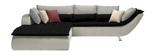 WOHNLANDSCHAFT in Textil Hellgrau, Schwarz, Weiß - Chromfarben/Hellgrau, Design, Textil/Metall (220/300/cm) - Hom`in