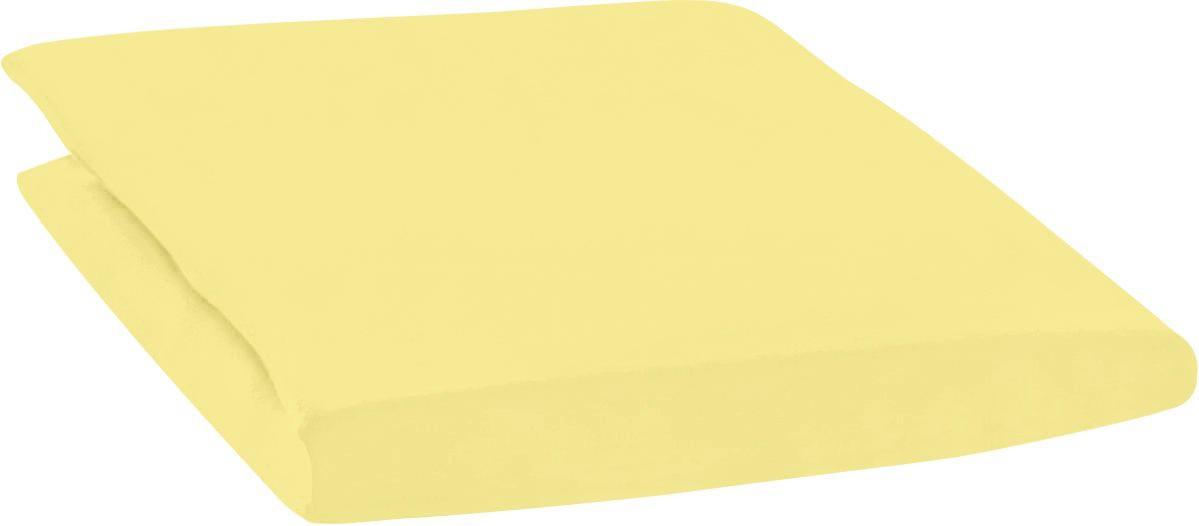 SPANNBETTTUCH Zwirn-Jersey Gelb bügelfrei, für Wasserbetten geeignet - Gelb, Basics, Textil (200/200cm) - ESTELLA