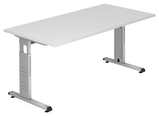 SCHREIBTISCH Weiß - Silberfarben/Weiß, KONVENTIONELL, Metall (160/65-85/80cm)