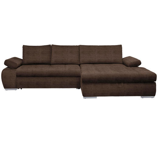 WOHNLANDSCHAFT in Textil Hellbraun  - Chromfarben/Hellbraun, Design, Kunststoff/Textil (294/173cm) - Carryhome
