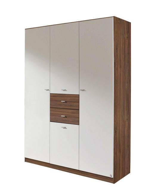 DREHTÜRENSCHRANK 4-türig Eichefarben, Weiß - Eichefarben/Alufarben, Design, Holzwerkstoff/Kunststoff (136/197/54cm) - Carryhome