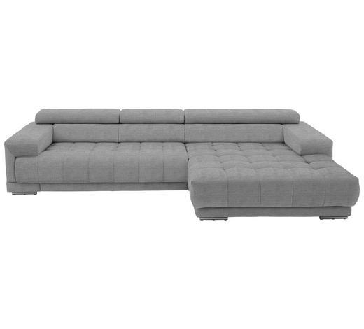 WOHNLANDSCHAFT in Textil Silberfarben, Hellgrau - Silberfarben/Hellgrau, Design, Textil/Metall (335/190cm) - Beldomo Style