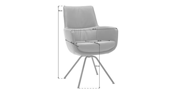 ARMLEHNSTUHL Echtleder Schwarz, Dunkelrot  - Schwarz/Dunkelrot, Design, Leder/Metall (60/90/61cm) - Dieter Knoll