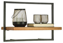 WANDREGAL 50/35/25 cm  - Schwarz/Akaziefarben, Trend, Holz/Metall (50/35/25cm) - Landscape