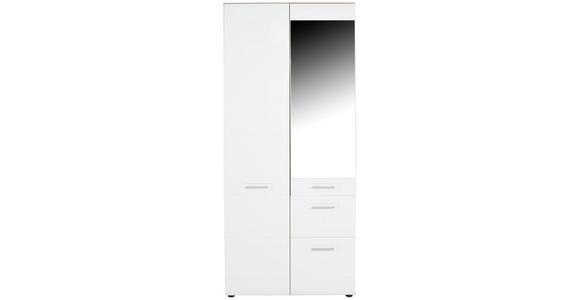 Drehtürenschrank mit Spiegel + Laden 90cm Avensis New, Weiß - Eichefarben/Weiß, KONVENTIONELL, Holzwerkstoff (90/205,7/60cm) - Luca Bessoni