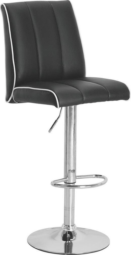 BARHOCKER Lederlook Schwarz, Weiß - Schwarz/Weiß, Design, Textil/Metall (42/97-118/56cm) - CARRYHOME