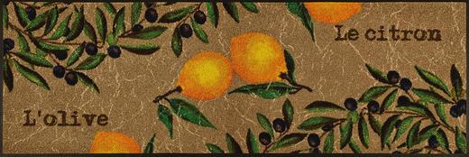 FUßMATTE 60/180 cm Zitronen Beige, Multicolor - Beige/Multicolor, Kunststoff/Textil (60/180cm) - Esposa