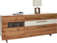 SIDEBOARD in Holz, Metall, Glas, Holzwerkstoff   - Edelstahlfarben/Buchefarben, Design, Glas/Holz (213/90/50cm) - Dieter Knoll