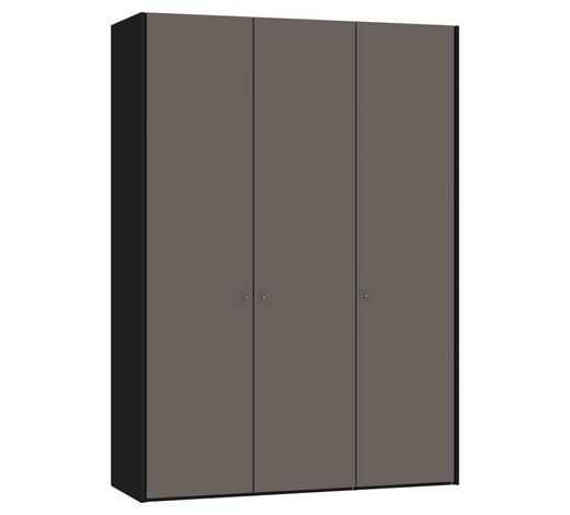 DREHTÜRENSCHRANK 3-türig Grau, Schwarz  - Silberfarben/Schwarz, Design, Glas/Holzwerkstoff (154,8/220/58,5cm) - Jutzler