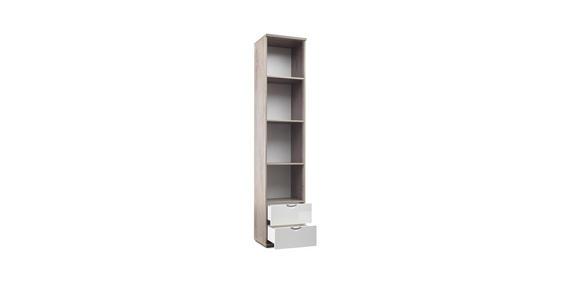 STANDREGAL in 45/216,5/38 cm Weiß, Eichefarben  - Chromfarben/Eichefarben, KONVENTIONELL, Holzwerkstoff/Metall (45/216,5/38cm) - Xora