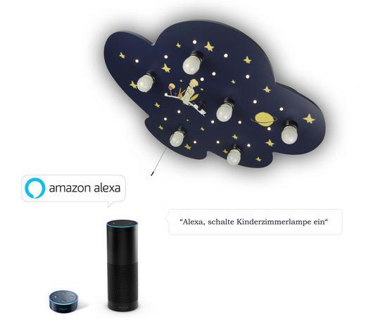 KINDERDECKENLEUCHTE  Amazon Alexa  - Blau/Gelb, Basics, Holzwerkstoff/Kunststoff (74/57/7cm)