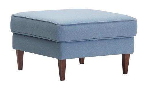 HOCKER beflockt, Mikrofaser Blau - Blau/Nussbaumfarben, Design, Textil (75/45/75cm) - Linea Natura